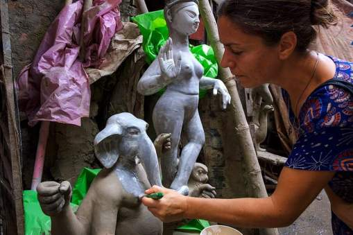 Painting Ganesha for Durgapuja